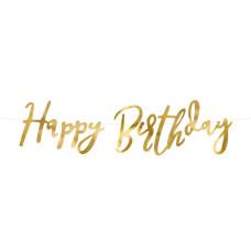 Ghirlanda Happy Birthday lucida oro