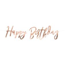Ghirlanda Happy Birthday lucida rosa oro
