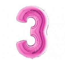 Palloncino numero 3 piccolo pink