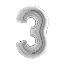 Palloncino numero 3 medio argento