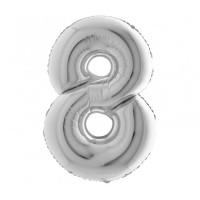 Palloncino numero 8 medio argento