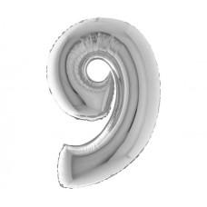 Palloncino numero 9 medio argento