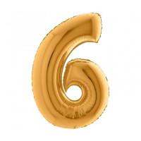 Palloncino numero 6 medio oro