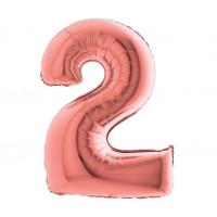 Palloncino numero 2 medio rosa oro