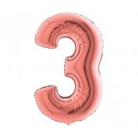 Palloncino numero 3 medio rosa oro