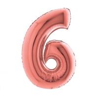 Palloncino numero 6 medio rosa oro