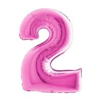 Palloncino numero 2 medio pink
