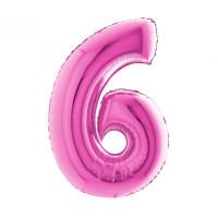 Palloncino numero 6 medio pink