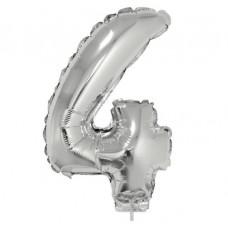 Palloncino numero 4 piccolo argento