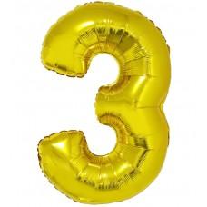 Palloncino numero 3 grande oro