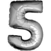 Palloncino numero 5 grande argento