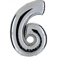 Palloncino numero 6 grande argento