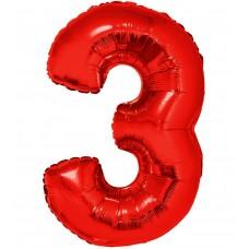 Palloncino numero 3 grande rosso