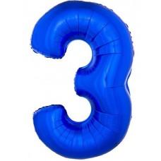 Palloncino numero 3 grande blu