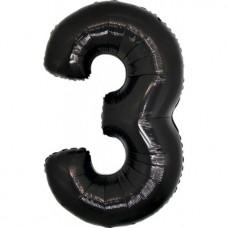 Palloncino numero 3 grande nero