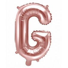 Palloncino lettera G piccola rosa oro