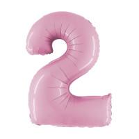 Palloncino numero 2 medio rosa
