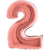 Palloncino numero 2 grande rosa oro