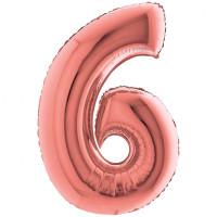 Palloncino numero 6 grande rosa oro