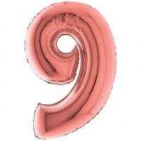 Palloncino numero 9 grande rosa oro