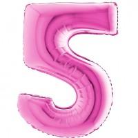 Palloncino numero 5 grande pink