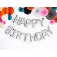 Set di lettere gonfiabili Happy Birthday argento